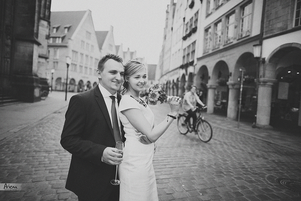 Old Town Muenster engagement session. Destination Germany engagement photoshoot