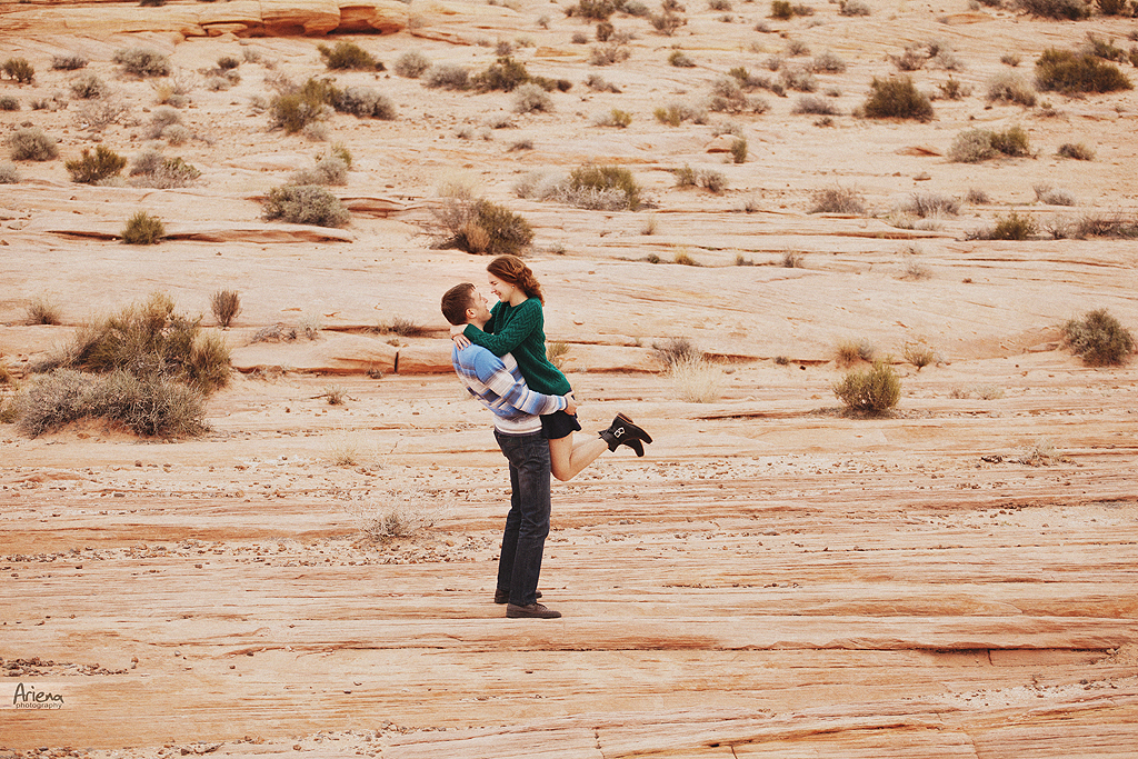 engagement photo session in Las Vegas, Nevada. Beautiful couple in love in Fire Valley