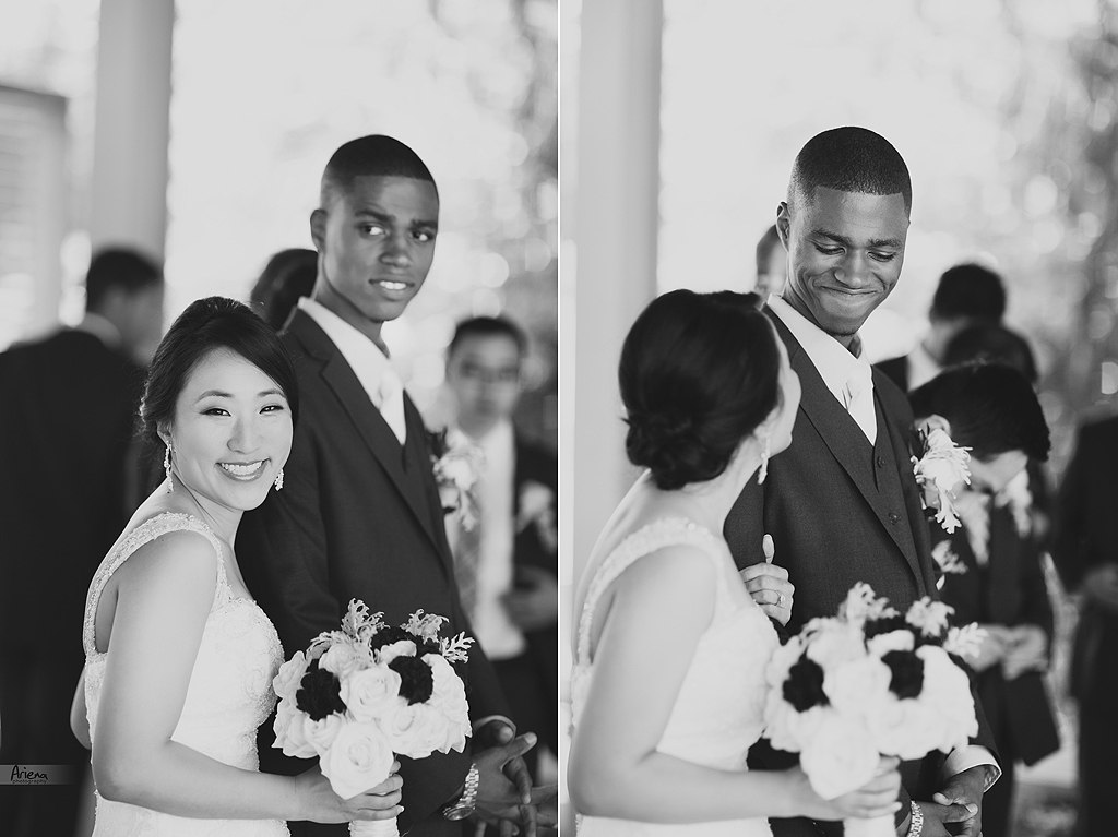 Summer Korean and African American wedding in Bellevue. Sunny weather in Bellevue Botanical Garden