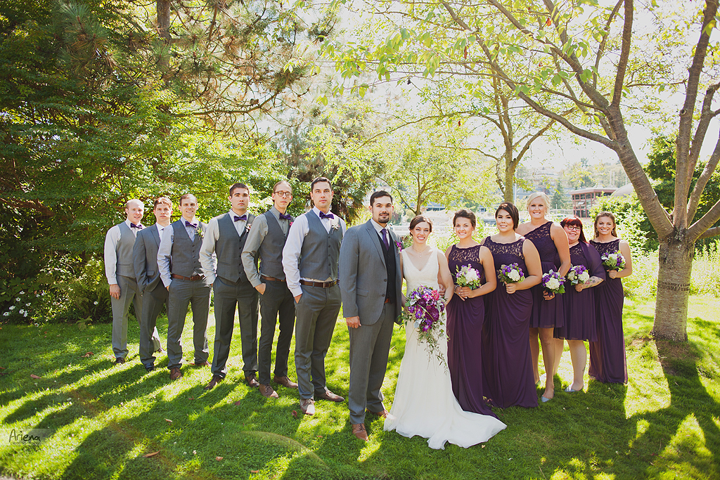 Wedding in Ballard, Seattle. Sunny summer day, purple wedding color. Ceremony took place in the Canal restaurant