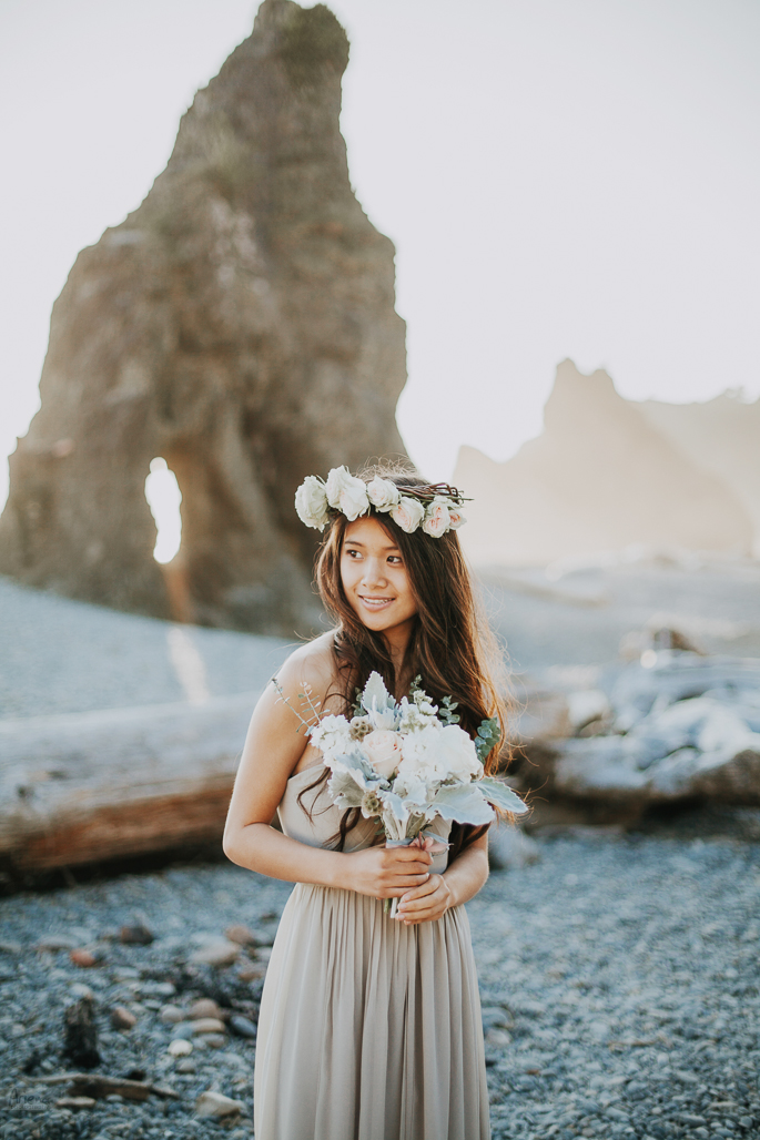 Wedding styled shoot on Ruby Beach. Golden hours, sunset time