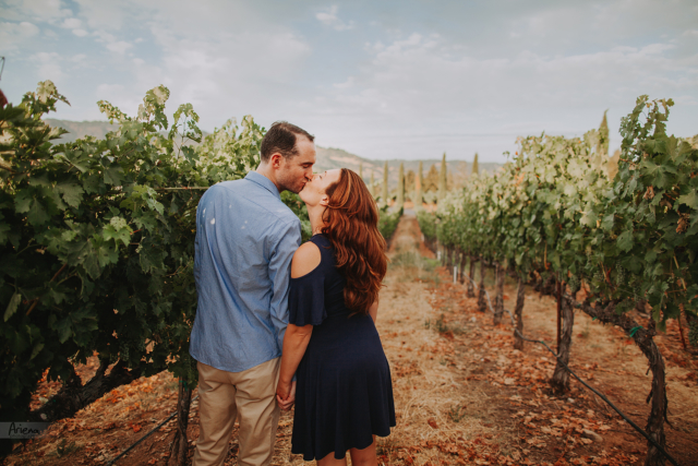 Napa Valley engagement session in Castello Di Amorosa