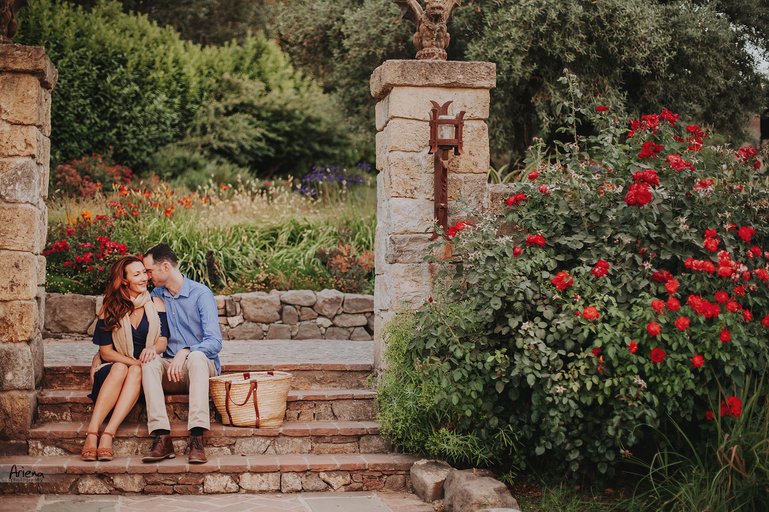Napa Valley engagement session in Castello Di Amorosa at sunset time