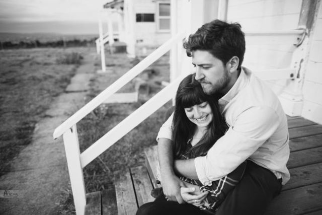 Discovery Park cozy sunset black and white engagement session