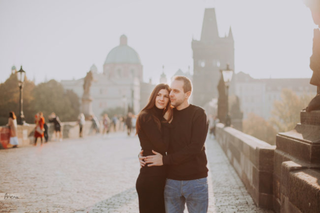 Charles Bridge engagement session in Prague. Destination European engagement shoot