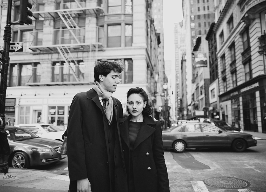 Manhattan street style engagement photo session in black and white