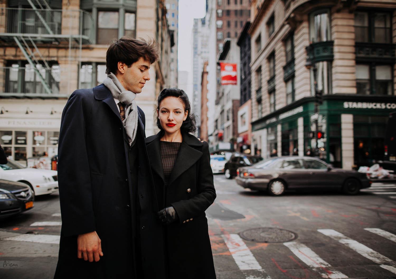Manhattan retro engagement session. NYC engagement photo shoot