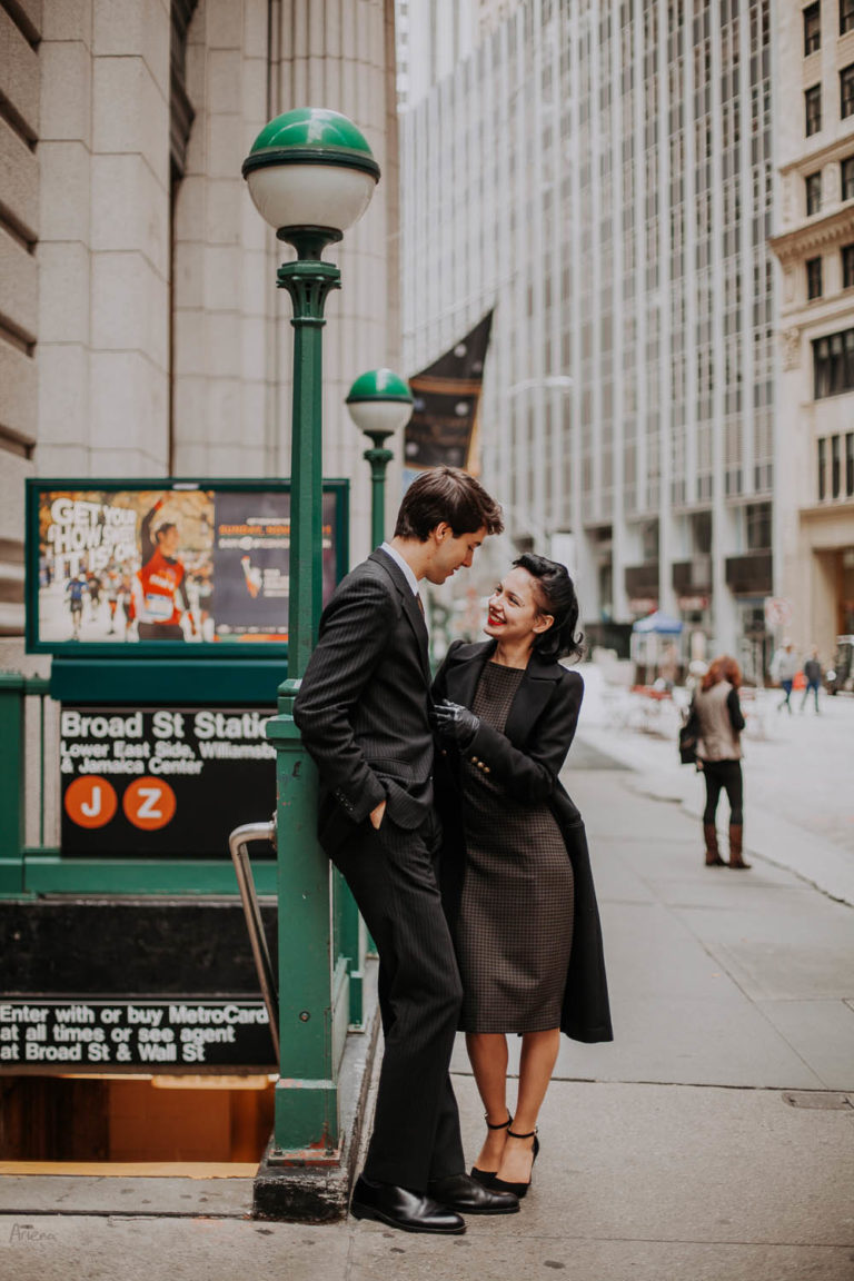 Manhattan retro engagement session. NYC engagement photo shoot