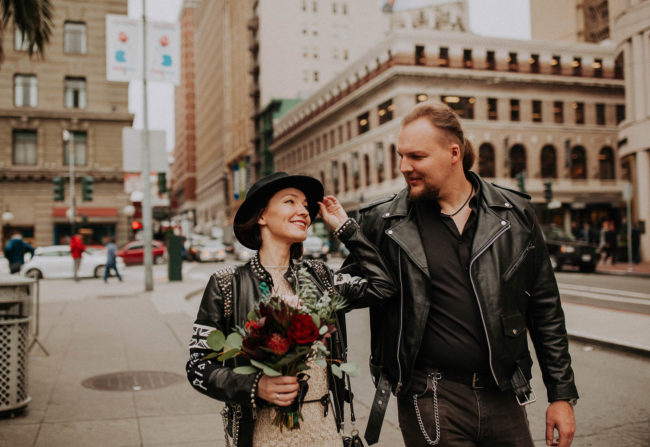Rock'n'Roll elopement in San Francisco Downtown. Hard Rock bikers wedding. Leather jackets and biker boots