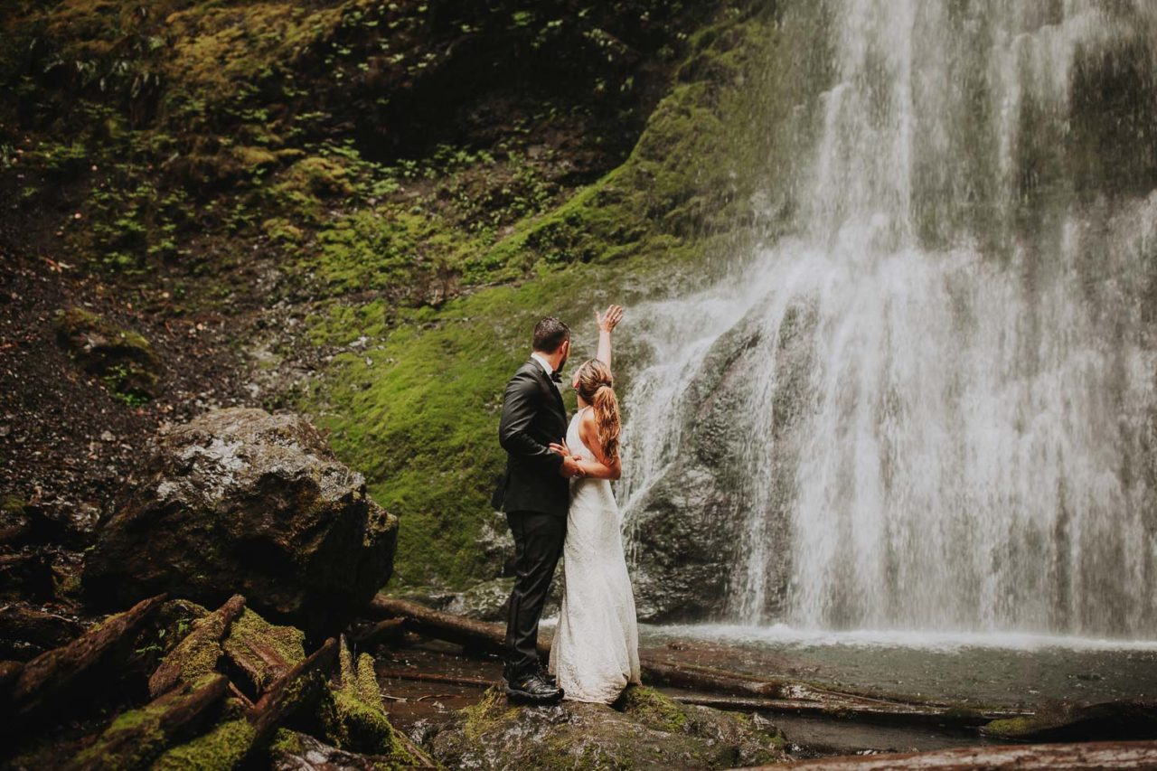 Marymere Falls moody rainy elopement. Olympic Peninsula intimate wedding in rain Forest